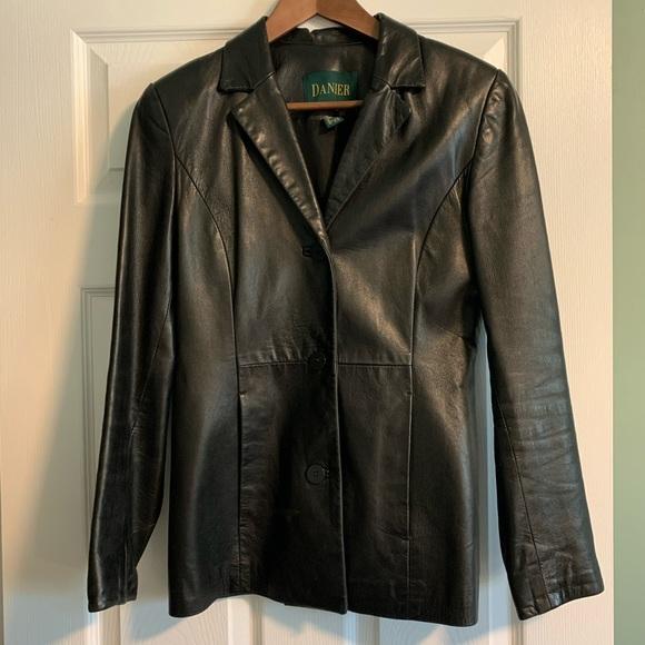 Vintage Danier Black Leather Blazer (used, size 4)